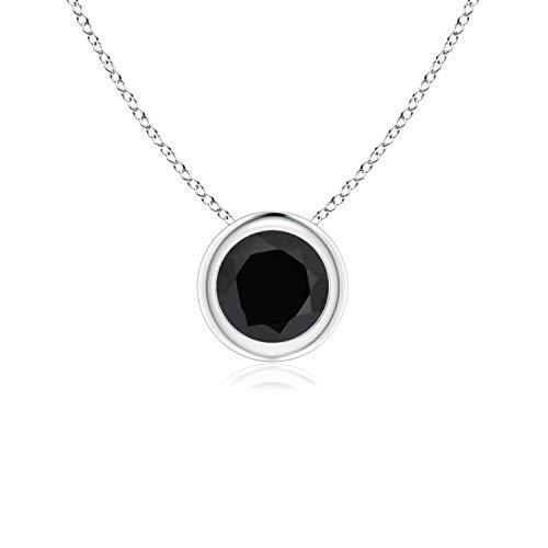 Bezel-Set Round Black Onyx Solitaire Pendant in Platinum (5mm Black - Platinum Black Onyx Necklace