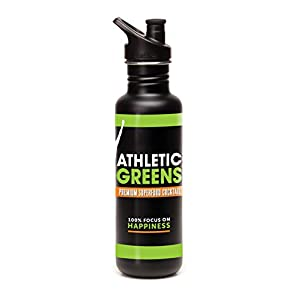 Athletic Greens Klean Kanteen, Large Mouth Bottle with Sport Cap, 27 oz