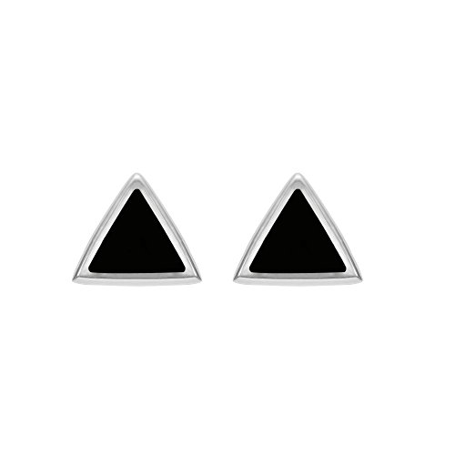 Boma Jewelry Sterling Silver Onyx Triangle Inlay Stud Earrings - Basic Black Earrings