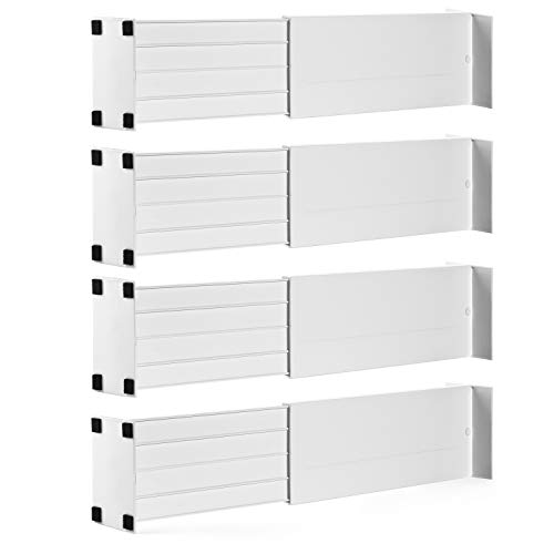 Dial Industries B160502 Adjustable Spring Loaded Drawer Dividers, set of 4, White