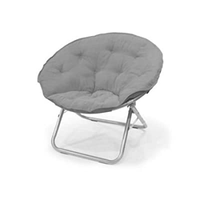 225 lbs Capacity Saucer Folding Chair Large Microsuede in Light Grey