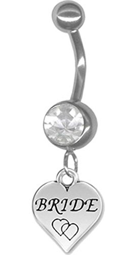 14g 5/16 Clear Heart Bride Wedding Belly Button Ring - Belly Button Rings Wedding