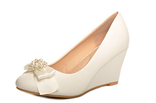 Blanc Casse Noeud de Satin Avec Diamante Broche Chaussures de Mariee de Coin
