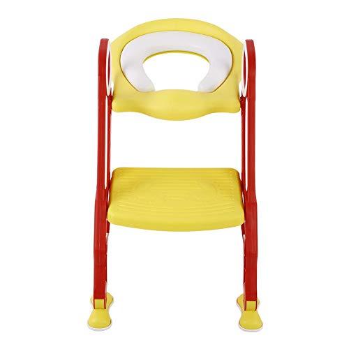 Toiletbril voor kinderen, toiletbril met trapladder, met PU soft pad, in hoogte verstelbaar, voor kleine kinderen (rood…
