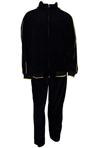 Sweatsedo Mens Black Velour Tracksuit with Yellow Piping (XXX-Large)]()