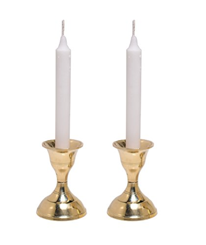 Hashcart Candle Stand Set, Brass Metal Candle Holder for Christmas/Prayer /Home Decor/Gift - Set of 2 - Brass Candle Stand