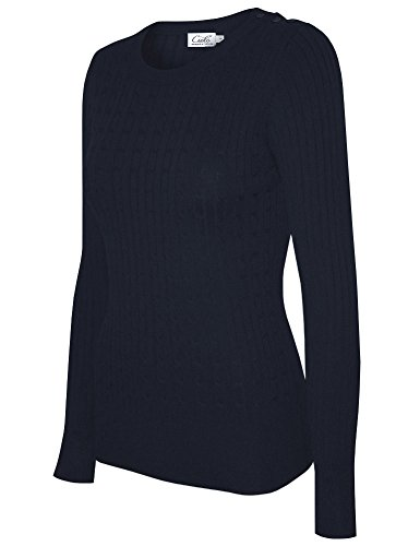 (Cielo Women's Basic Solid Stretch Crewneck Cable Knit Pullover Sweater Navy)