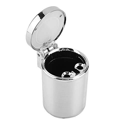 Garosa Car Cigarette Ashtray Portable Led Light Ash Tray Cinder Holder with Lid Car Accessories(Silver) Ash 02 Ash Bucket