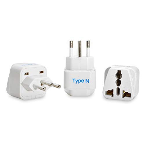 Ceptics Brazil Travel Plug Adapter (Type N) - 3 Pack [Grounded & Universal] (GP-11C-3PK)...