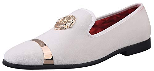 ELANROMAN Men's Casual Velvet Loafers Dress Shoes with Gold Plate Men Luxury Penny Party Wedding White Shoes US 14 EUR 48 Feet Lenght 315mm