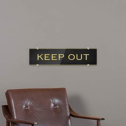 24x6 5-Pack Keep Out Classic Gold Premium Acrylic Sign CGSignLab