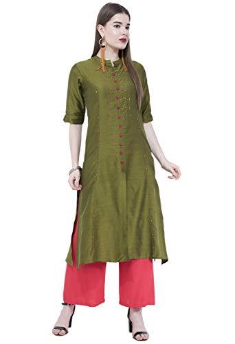 Kurta Kurti - Lagi Women Designer Straight A-Line Kurta Kurtis top Tunic Dresses Polly Silk Rayon Cotton Kurtis Kurta (XL, Olive Green (RK2138F))