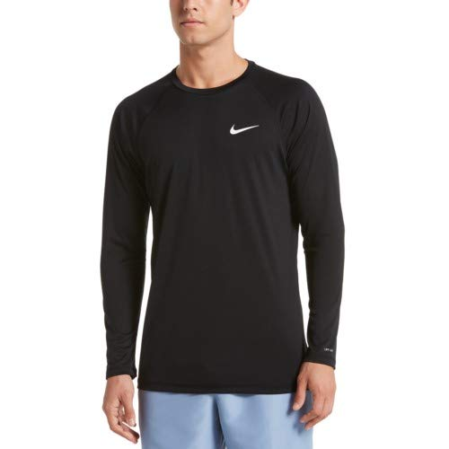 XXLarge Nike Swim Men's Solid Long Sleeve Hydroguard Rash Guard Black