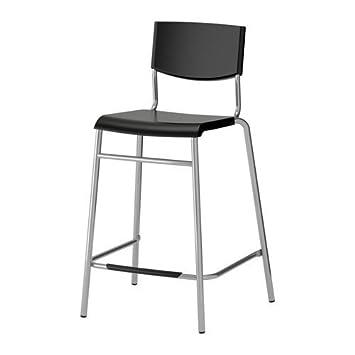 Ikea Stig - Taburete con Respaldo, Negro, Plata Color - 63 ...