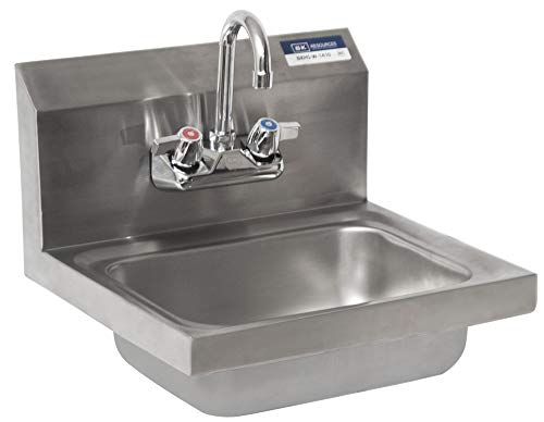 BK Resources BKHS-W-1410-P-G Wall Mount Stainless Steel Hand Sink with 4