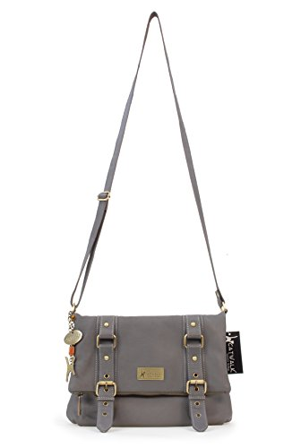 "Borsa in pelle a tracolla di Catwalk Collection""Abbey Road"" Grigio Scuro"