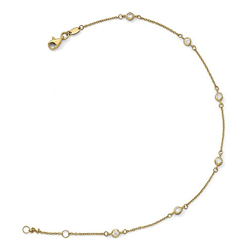 14K Yellow Gold and Cubic Zirconia Station Anklet, 9-10 Inch