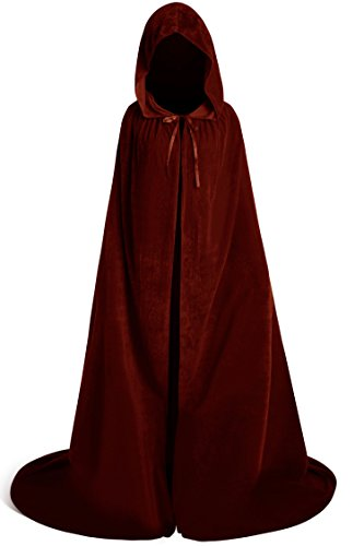 Unique Halloween Costumes Plus Size (Unisex Halloween Velvet Full Length Hooded Party Cape Cosplay Costume Cloak (84'', Brown))