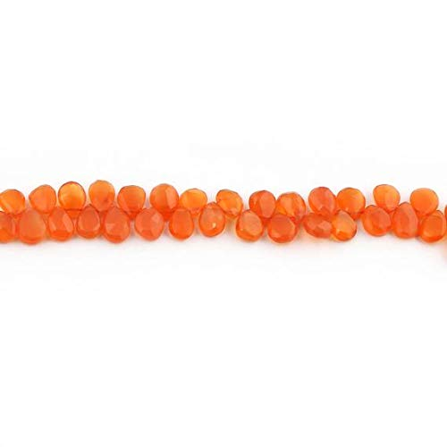 KALISA GEMS Beads Gemstone 1 Strand Natural Carnelian Faceted Briolettes - Pear Drop Shape Beads 7mmx5mm-9mmx6mm 10 Inches