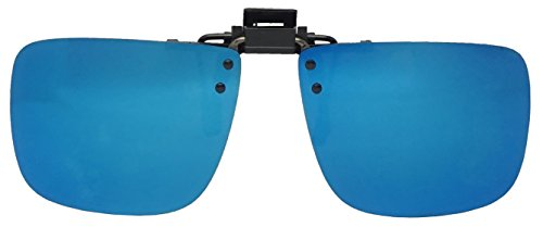 60mm Wide Large Polarized Night Driving Clip On Sunlgasses Flip Up Over Glasses (Blue Mirror Lens, - Sunlgasses