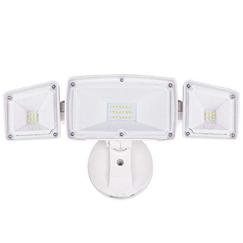 Amico 3500LM LED Security Light, 30W Super Bright Outdoor Flood Light, ETL- Certified, 5000K, IP65 Waterproof, 3 Adjustable Heads for Garage, Patio, Garden, Porch&Stair(White Light) (Best Led Flood Lights For Home)