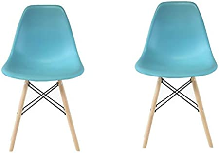 Plata Import Eames Style Eiffel Dinning Chair in Royal Blue with Natural Wood Legs Set 4