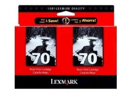 (Lexmark 70 (15M1330) Black OEM Genuine Inkjet/Ink Cartridge (12A1970*2) (600 x2 Yield) - Retail)