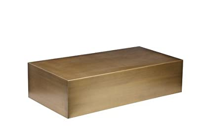 Pangea Home Z Z Spencer CT Brass Coffee Table, Large, Brushed Brass