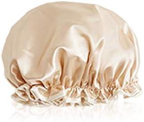 CQIANG シャワーキャップ、ダブルシャワーキャップ、女性用防水フード、ヘアキャップ、浴室用シャワー女性用シャワーキャップ、キッチンの帽子、防フードキャップ、シャンパン、ピンク、グレー (Color : Pink)