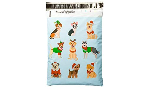 10x13 - Adorable Festive Dogs Designer Printed Poly Mailers, Christmas Puppy Shipping Envelopes Self Sealing Boutique Custom Bags (30 Pcs)