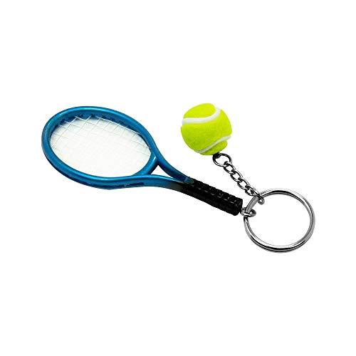 Shaped Keychain Ball - Tennis Racket Racquet Tennis Ball Shaped Alloy Keyring Keychain (Blue-SZRUY01)