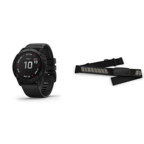 Garmin Fenix 6X Sapphire, Premium Multisport GPS Watch, Features Mapping, Music, Grade-Adjusted Pace Guidance and Pulse Ox Sensors, Dark Gray with Black Band & HRM-Dual Heart Rate Monitor