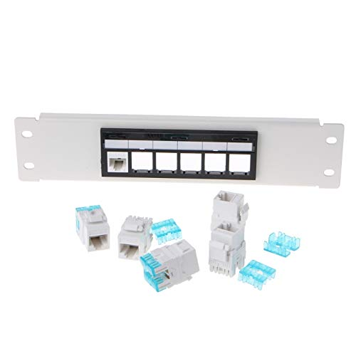 SAUJNN RJ45 CAT6 6 Ports Panel Frame with RJ45 Keyston Module Jack Connector
