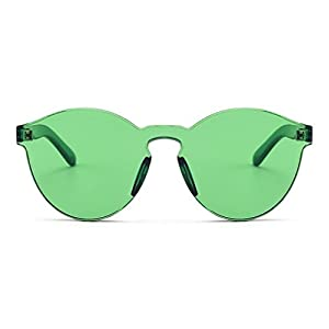 Armear Oversized One Piece Rimless Tinted Sunglasses Clear Colored Lenses (Green, 58)
