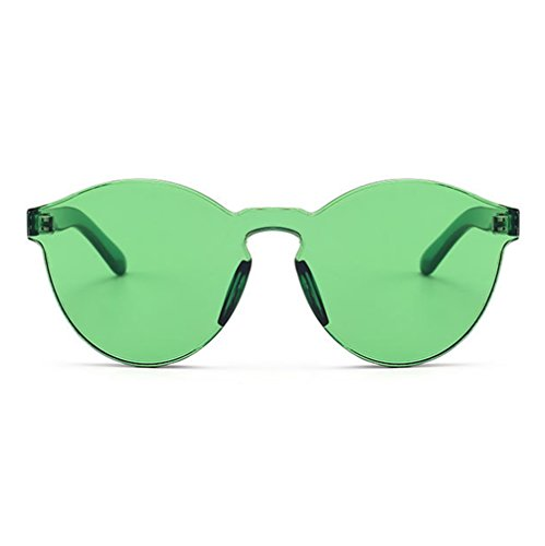 Armear Oversized One Piece Rimless Tinted Sunglasses Clear Colored Lenses (Green, - Glasses Green
