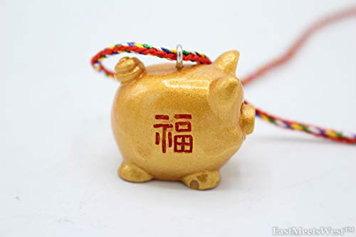 (EastMeetsWest 2 of Chinese Feng Shui Protection Boar | Pig Zodiac Year of Boar | Pig Emperor Coin Good Fortune Pig Necklace Hanging Charm Ornament )
