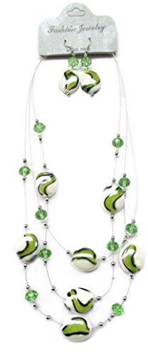 Necklace earrings Jewelry Set / Green and White Swirl Lampwork and Crystal Beads/ Necklace Length 21