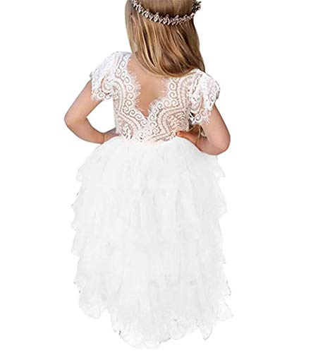 Toddler Baby Flower Girls Dress Princess Tulle Party Sleeveless Dresses Lace Backless Tutu A-line Beaded Skirt Pink]()