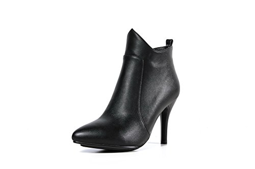 AmoonyFashion Womens Pointed-Toe Closed-Toe High-Heels Boots With Metal Decoration and Zippers Black