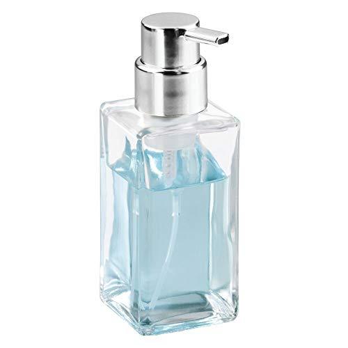 - mDesign Modern Square Glass Refillable Foaming Hand Soap Dispenser Pump Bottle for Bathroom Vanities or Kitchen Sink, Countertops - Clear/Chrome