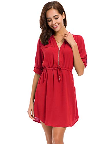 LUSMAY MOQUEEN Womens Casual Chiffon Shirt Dress Long Sleeve Drawstring Roll-up Blouses Front Zipper Pocket Red