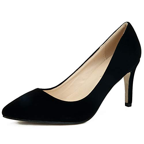Velvet Shoes Black Heel Stiletto Classic Dress High Women's MAIERNISI JESSI Pointed Toe Pumps SWgaP