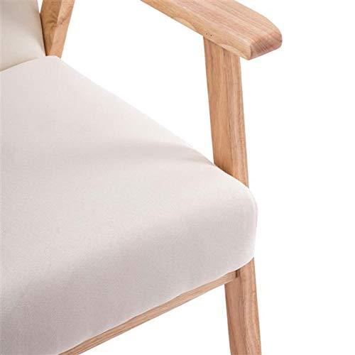 Fritidsstol – enkelt tyg trä armstöd enkel soffa vardagsrum stol avslappning stol för studier, sovrum burlywood beige(25 x 23,22 x 27,95)