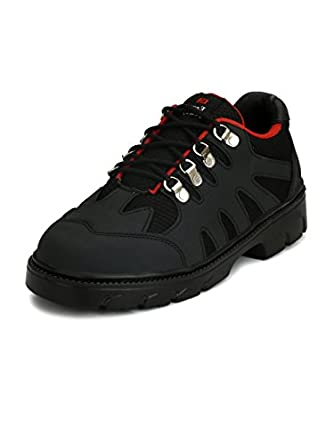 61deb0a7a2755 Eego Italy® Genuine Leather Light Weight Men s Steel Toe Safety Shoes with  Anti Skid Sole Black  Amazon.in  Amazon.in