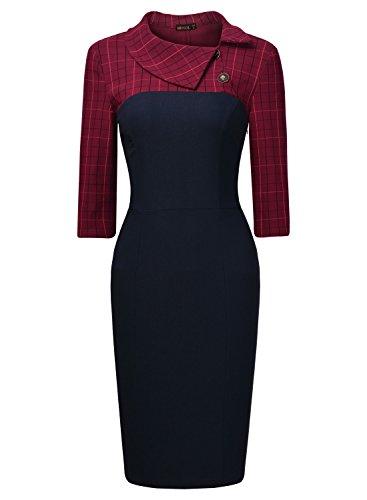 MissMay Women's Elegant Small Lapel 3/4 Sleeve Workwear Pencil Dress X-Large
