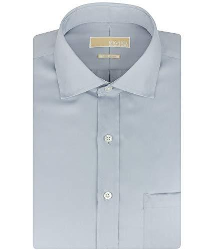 Michael Kors Mens Non Iron Button Up Dress Shirt, Grey, 15.5