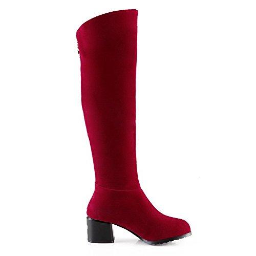 AllhqFashion Damen Rund Zehe Hoher Absatz Hoch-Spitze Rein Stiefel mit Metallisch, Rot, 34