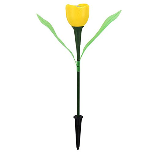 lar Power Tulip Flower LED Light Yard Garden Lawn Path Xmas Lamp HG yellow ()