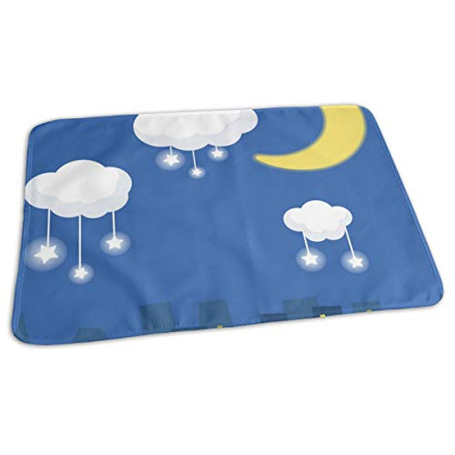 Pomduct House Under The Moon Stars Clouds Personalized Diaper Replacement Waterproof Newborn Unisex Soft Strong Absorption Replacement Pad