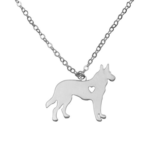 Silvertone I Love My Dog Lover Heart Outline German Shepherd Pet Puppy Rescue Pendant Necklace